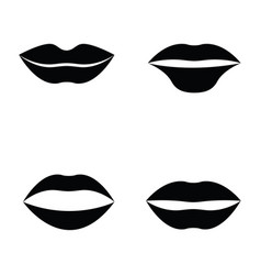 Women lips and mouth flat style icon set vector
