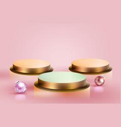 3d minimal luxury podium golden in front pink vector