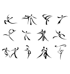 abstract black icons dancing people vector image