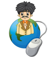 An adult businessman above the globe with a vector