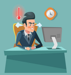 Angry businessman cartoon with computer vector