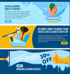 banners set with concept of cleaning vector image