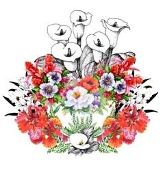 Beautiful Watercolor Summer Garden Blooming vector image