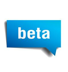 Beta blue 3d speech bubble vector