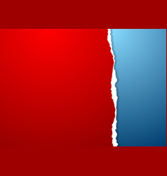 Blue and red paper background with ragged edge vector