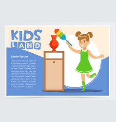 blue card with smiling girl cleaning room with the vector image