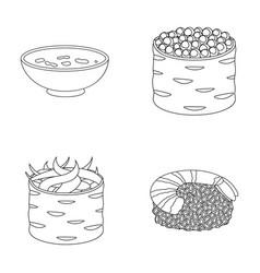 bowl of soup caviar shrimp with rice sushi set vector image