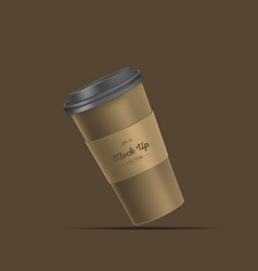 Brown coffee cup with holder mockup vector