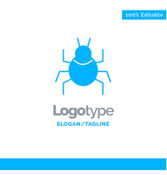 Bug nature virus indian blue solid logo template vector