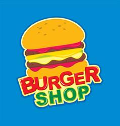 Burger shop logo design vector