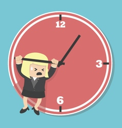 Business woman hangs on an arrow of clock vector
