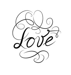 calligraphic doodle love sign with handwritten vector image