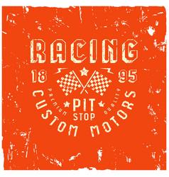 Car racing badge in retro style vector