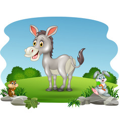 Cartoon funny donkey with nature background vector