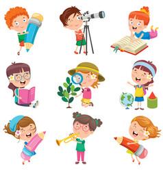 Childrens doing various activities vector