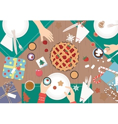 Christmas dinner on wood table design vector