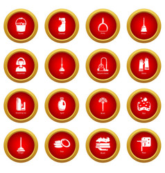 cleaning tools icons set simple style vector image