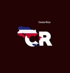 costa rica initial letter country with map and vector image