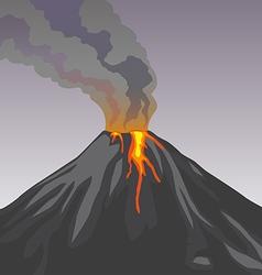 Crater mountain volcano hot natural eruption smoke vector