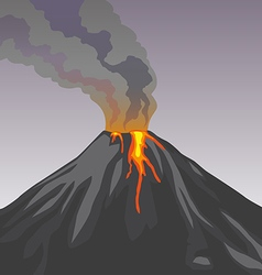 Crater mountain volcano hot natural eruption Smoke vector image vector image