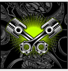 Cross motorcycle piston black and white vector
