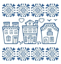 Cute collection typical portuguese houses vector
