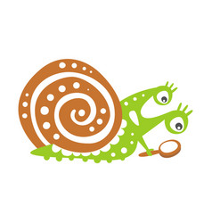 Cute snail character with magnifying glass funny vector