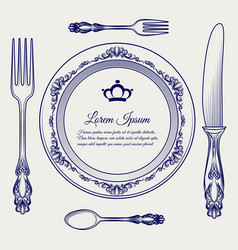 cutlery vintage set ball pen sketch vector image