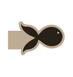 Dark contour fish icon vector