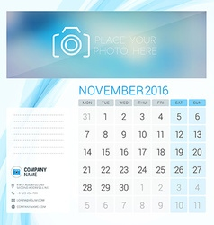 Desk Calendar for 2016 Year November Stationery vector image
