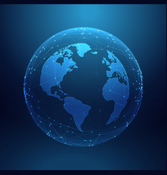 digital technology planet earth inside network vector image
