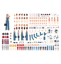 Female office assistant diy set or creation kit vector