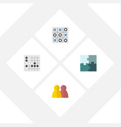 flat icon games set of people gomoku jigsaw and vector image