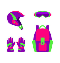 Flat style skiing snowboarding apparel gear vector