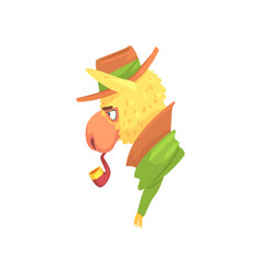 Funny llama character wearing hat smoking pipe vector