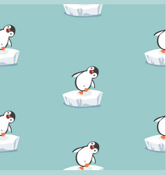 Funny penguin on ice floe pattern vector