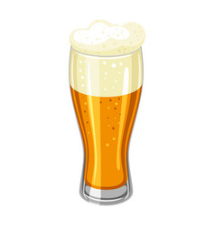 Glass with light beer and froth vector