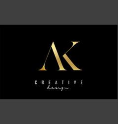 Golden ak a k letters logo concept with serif vector