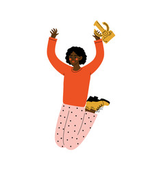 Happy african american girl celebrating victory vector