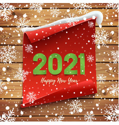 happy new year 2021 greeting card red curved vector image