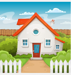 House inside garden vector