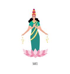 Indian goddess or deity shakti in lotus flower vector