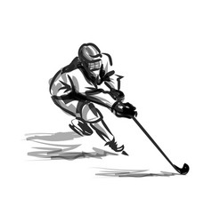 Ink sketch hockey player vector