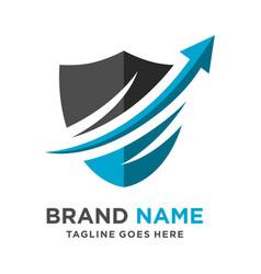 investment arrow shield logo vector image