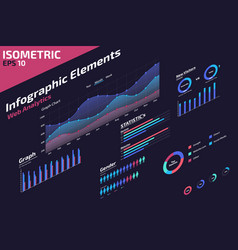Isometric infographic web analytic elements design vector