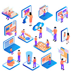 Isometric people interfaces set vector