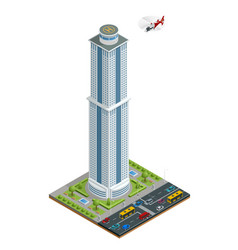 isometric skyscraper with helipad on the roof vector image
