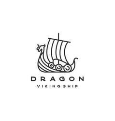Line art viking ship logo design vector