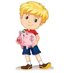 Little boy holding piggy bank vector