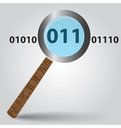 Magnifying glass from wood and binary digits eps10 vector
